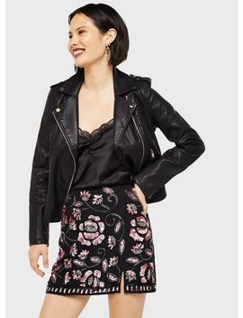 black-pink-embellished-notch-mini-skirt by miss-selfridge