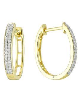 9ct Gold 1/5 Carat Diamond Hoop Earrings by H.Samuel