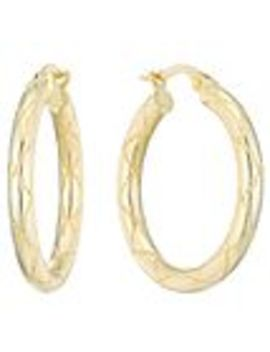 9ct Gold Ribbed Creole Earrings by Loved