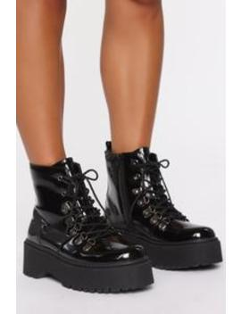 second-strike-booties---black by fashion-nova