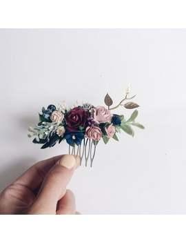 burgundy-navy-blue-wedding-hair-piece,-deep-red-greenery-hair-comb,-burgundy-hair-accessories,-floral-hair-vine,-bridal-headpiece,-hair-comb by etsy