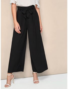 sheinfold-pleat-belted-palazzo-trousers by shein