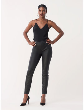 Claudia Stretch Leather Skinny Pants by Dvf