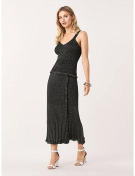 Brooklyn Metallic Wool Faux Wrap Midi Skirt by Dvf