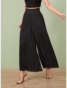 pleated-elastic-waist-wide-leg-trousers by shein
