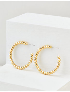 aeo-gold-beaded-hoop-earring by american-eagle-outfitters