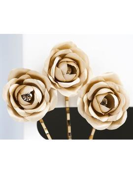 719-gold-rose-bridal-bobby-pin-gold-flowers-flower-hair-clip-gold-flower-hair-clips-silk-gold-rose-bridal-flower-bobby-pin-rhinestones by etsy
