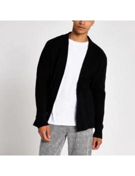 black-knitted-foldback-collar-cardigan by river-island