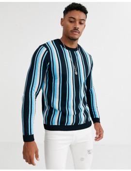 asos-design-knitted-stripe-jumper-in-teal by asos-design