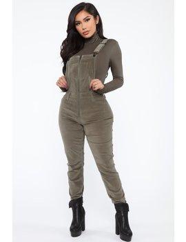 take-me-back-corduroy-overalls---olive by fashion-nova