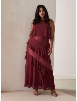 a-line-maxi-dress-with-asymmetrical-ruffles by penningtons