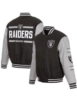 Men's Oakland Raiders Jh Design Black/Gray 3 Hit Full Snap Jacket by Nfl