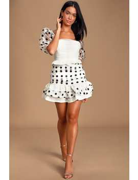 beloved-beauty-white-polka-dot-puff-sleeve-ruffled-mini-dress by lulus