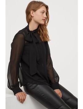 tie-collar-chiffon-blouse by h&m