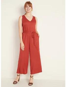 v-neck-tie-belt-wide-leg-jumpsuit-for-women by old-navy