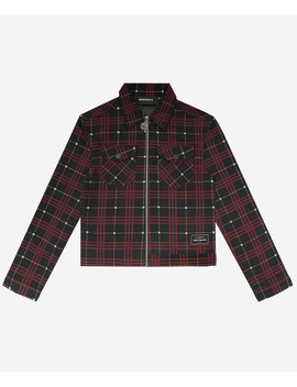 Wm Crop Tartan Jacket Black/Red by Wasted