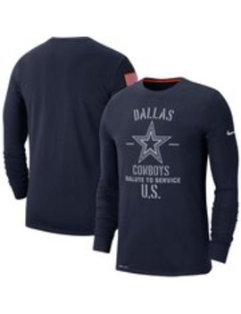 dallas-cowboys-nike-2019-salute-to-service-sideline-performance-long-sleeve-shirt---navy by nike