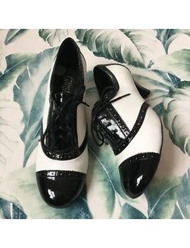 new-look-monochrome-wartime-40s-brogue-style-heeled-vintage-look-shoes-size-5 by new-look