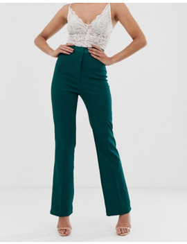 4th-&-reckless-satin-trim-cigarette-trouser-in-green by 4th-&-reckless