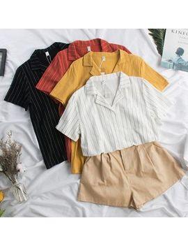 dudu---short-sleeve-striped-blouse by dudu