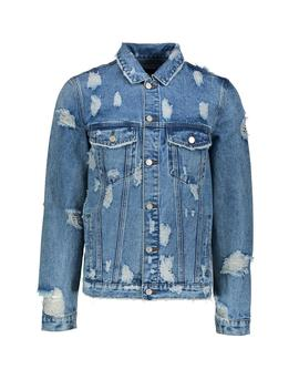 denim-jacket-with-extreme-distressing by boohoo