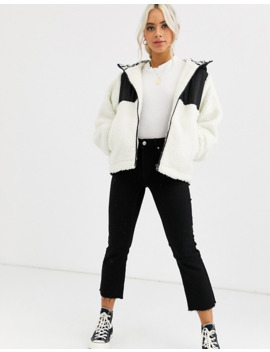 asos-design-petite-fleece-jacket-with-contrast-animal-in-cream by asos-design