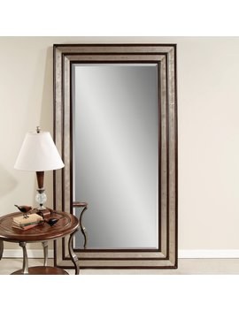 Silver Leaf & Black Accent Floor Leaner Mirror   46 W X 84 H In. by Hayneedle