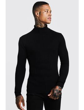 long-sleeved-ribbed-roll-neck-jumper by boohoo