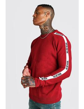 man-regular-fit-side-tape-knitted-jumper by boohoo