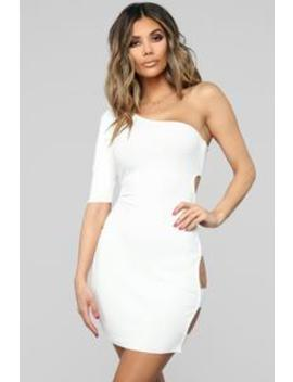 all-puffed-up-one-shoulder-dress---white by fashion-nova