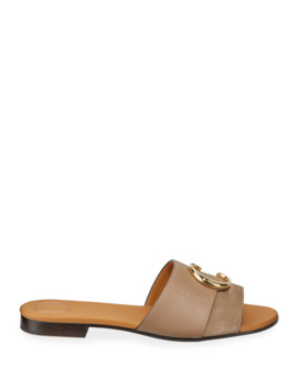 c-flat-leather-slide-sandals by chloe