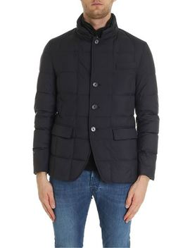 Double Front Down Jacket In Blue by Fay