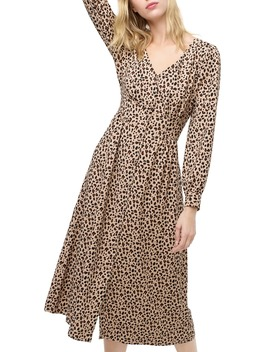 leopard-print-buffon-front-a-line-midi-dress by jcrew