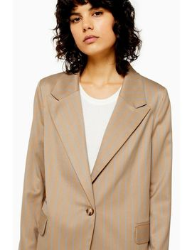 camel-stripe-double-breasted-suit by topshop