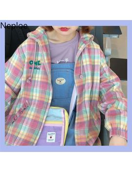 neploe-2019-autumn-pink-plaid-hooded-coat-japanese-women-sweet-loose-casual-jacket-long-sleeve-zipper-pocket-top-outwear-54394 by aliexpresscom