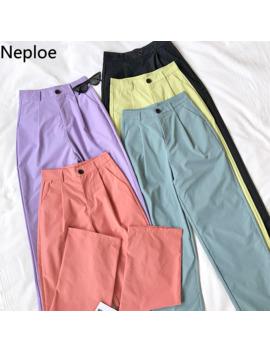 neploe-solid-high-waist-straight-leg-pants-womens-trousers-2019-spring-elegant-office-lady-workear-pants-korean-loose-clothing by aliexpresscom