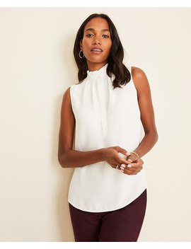 petite-ruffle-neck-shell by ann-taylor