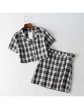 2019-women-vintage-plaid-two-piece-set-crop-top-shirts-and-mini-skirt-matching-sets-casual-outfits-tracksuit by aliexpresscom