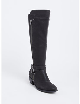 black-faux-suede-buckle-knee-high-boot-(wide-width-&-wide-to-extra-wide-calf) by torrid