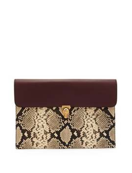 skull-python-effect-leather-envelope-pouch by alexander-mcqueen