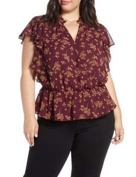 floral-print-faux-wrap-top-(plus-size) by 1state