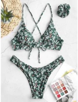 --popular-salezaful-tiny-floral-criss-cross-bikini-swimsuit-with-hair-tie---medium-sea-green-s by zaful