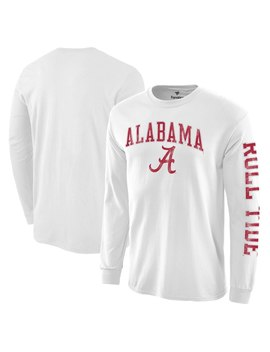 alabama-crimson-tide-distressed-arch-over-logo-long-sleeve-hit-t-shirt---white by fanatics-branded