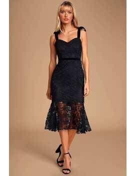 utterly-entranced-black-crochet-lace-trumpet-hem-midi-dress by lulus