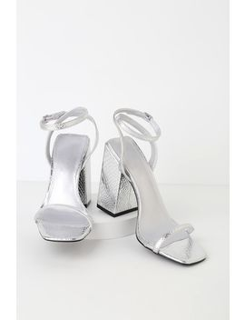 leighla-silver-snake-square-toe-ankle-strap-heels by lulus