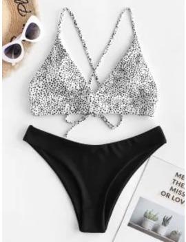 --popular-salezaful-dalmatian-dot-crisscross-high-leg-bikini-swimsuit---black-m by zaful