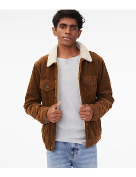 Corduroy Sherpa Lined Trucker Jacket by Aeropostale