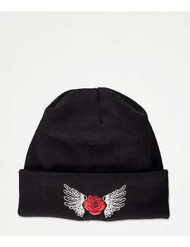 empyre-wing-rose-black-beanie by empyre