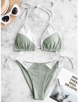 Salezaful Ribbed String Bikini Swimwear   Multi A S by Zaful