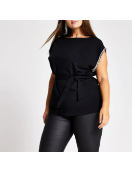 plus-black-embellished-trim-tie-belted-top by river-island